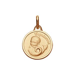 Pendentif médaille pour bébé en plaqué or zodiaque Capricorne - Vue 1