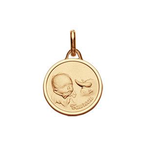 Pendentif médaille pour bébé en plaqué or zodiaque Taureau - Vue 1