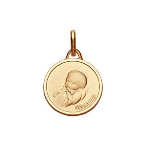 Pendentif médaille pour bébé en plaqué or zodiaque Verseau - Vue 1