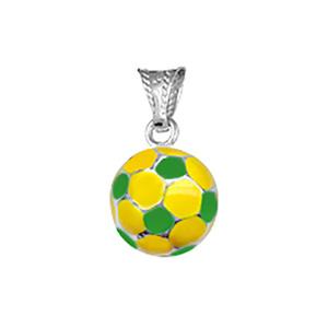 Pendentif petit ballon foot jaune et vert argent (Brésil) - Vue 1