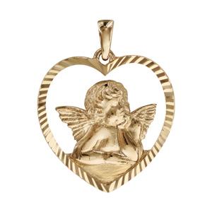 Pendentif plaqué or coeur ajouré Ange contour diamanté - Vue 1