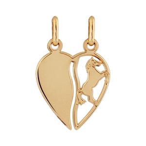 Pendentif plaqué or coeur à partager cheval - Vue 1