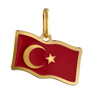 Pendentif plaqué or drapeau turquie - Vue 1