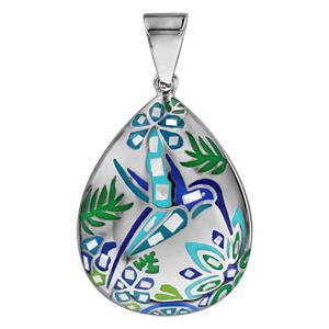 Pendentif Stella Mia en acier et nacre blanche véritable forme goutte avec motifs colibris bleu vert - Vue 1