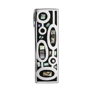 Pendentif Stella Mia en acier et nacre blanche véritable forme rectangulaire avec motifs ovales noirs - Vue 1