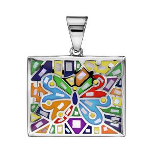 Pendentif Stella Mia en acier et nacre blanche véritable forme rectangulaire avec papillon multicolore - Vue 1