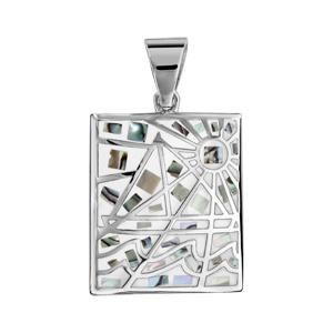 Pendentif Stella Mia en acier et nacre blanche véritable rectangulaire avec motifs géométriques et blanc