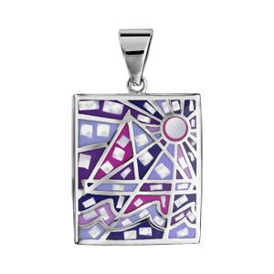 Pendentif Stella Mia en acier et nacre blanche véritable rectangulaire avec motifs géométriques et dégradé de rose et violet