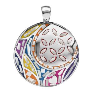 Pendentif Stella Mia en acier et nacre blanche véritable rond avec motif fleur et multicolore - Vue 1