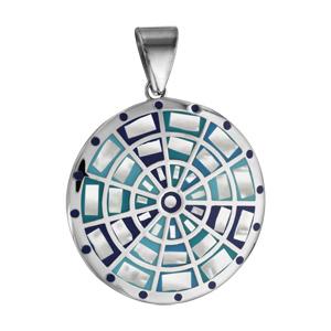 Pendentif Stella Mia en acier et nacre blanche véritable rond avec motifs cible et dégradé de bleu - Vue 1