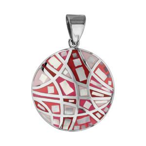 Pendentif Stella Mia en acier et nacre blanche véritable rond avec motifs et dégradé de rouge et rose