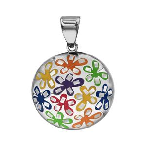 Pendentif Stella Mia en acier et nacre blanche véritable rond avec motifs fleurs multicolores - Vue 1