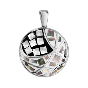 Pendentif Stella Mia en acier et nacre blanche véritable rond avec motifs géométriques et noir et blanc