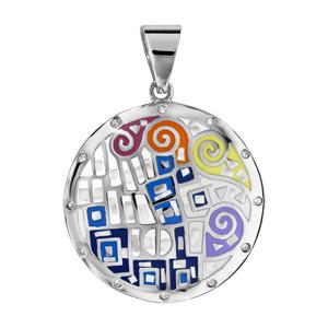 Pendentif Stella Mia en acier et nacre blanche véritable rond avec motifs spirales et formes multicolores