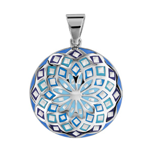 Pendentif Stella Mia en acier et nacre blanche véritable rond motif fleur et dégradé de bleu