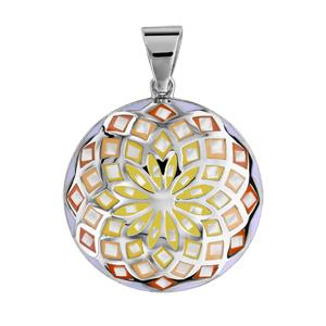 Pendentif Stella Mia en acier et nacre blanche véritable rond motif fleur et dégradé de jaune et orange