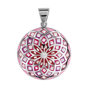 Pendentif Stella Mia en acier et nacre blanche véritable rond motif fleur et dégradé de rouge et rose