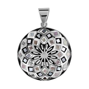 Pendentif Stella Mia en acier et nacre blanche véritable rond motif fleur et noir et blanc