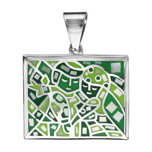 Pendentif Stella Mia en acier et nacre carré avec motifs et visages verts - Vue 1