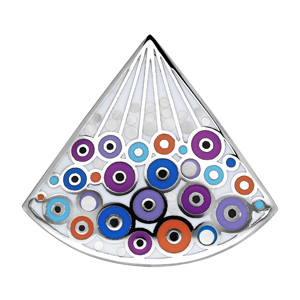 Pendentif Stella Mia en acier et nacre forme eventail avec motifs bulles colorées fonçé - Vue 1
