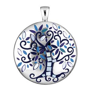 Pendentif Stella Mia en acier et nacre rond avec arbre de vie bleu nuit - Vue 1