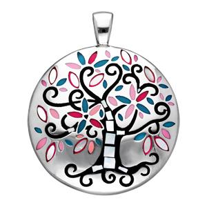 Pendentif Stella Mia en acier et nacre rond avec arbre de vie noir et rose - Vue 1
