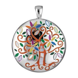 Pendentif Stella Mia en acier et nacre rond avec arbre de vie orange et multi couleur - Vue 1
