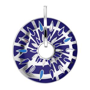 Pendentif Stella Mia en acier et nacre rond percé fond bleu nuit - Vue 1