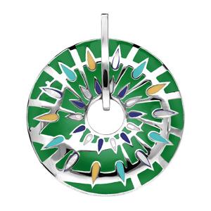 Pendentif Stella Mia en acier et nacre rond percé fond vert - Vue 1