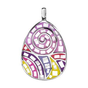 Pendentif Stella Mia en acier et nacre rose, jaune et violet avec motif spirale - Vue 1