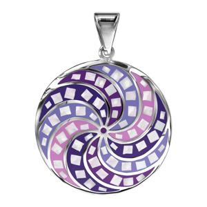 Pendentif Stella Mia en acieret nacre rond avec rosace violette et rose - Vue 1