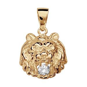 Pendentif vermeil lion pierre blanche