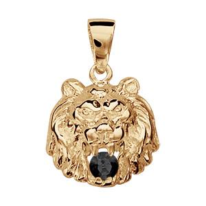 Pendentif vermeil lion pierre noire