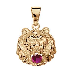 Pendentif vermeil lion pierre rouge
