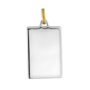 Plaque acier et or rectangulaire 21x14mm - Vue 1