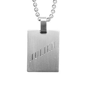 Plaque militaire acier avec chaîne boule - Vue 1