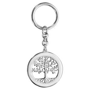 Porte clef argent rhodié arbre de vie contour à graver - Vue 1