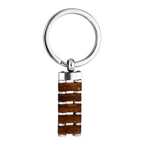 Porte clef en acier et bois naturel - Vue 1