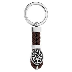 Porte clef en acier languette de cuir tressé marron et ancre marine - Vue 1