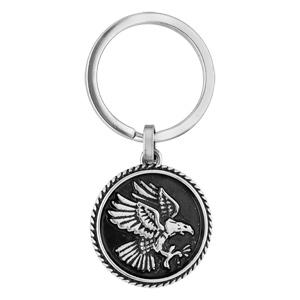 Porte clef en acier médaillon motif aigle sur fond noir - Vue 1
