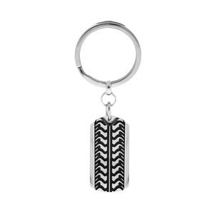 Porte clef en acier noirci motif pneu - Vue 1