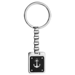 f11973c9a278 Porte clef en acier plaque rectangulaire PVD noir motif ancre marine