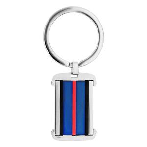 Porte clef en acier rectangulaire bleu et noir avec bande rouge - Vue 1