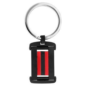 Porte clef en acier rectangulaire noir et 2 bandes rouges - Vue 1