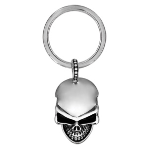 Porte clef en acier tête de mort lisse avec résine noir - Vue 1