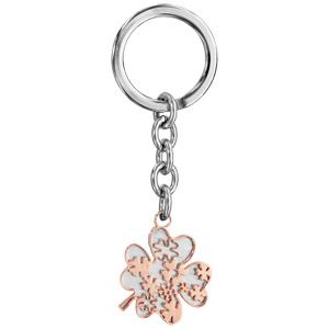 Porte-clef en acier avec trèfle en PVD rose - Vue 1