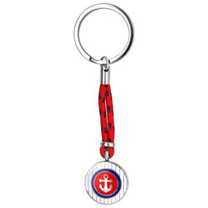 Porte-clef en acier et corde rouge avec rond ancre marine rouge etr bleue - Vue 1