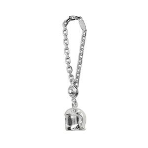 Porte-clef en argent casque de pompier - Vue 1