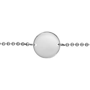 Bracelet en argent chaîne maille boules avec plaque ronde à graver au milieu - longueur 18cm réglable - Vue 2