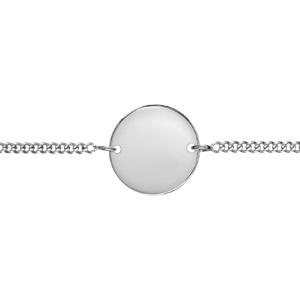 Bracelet en argent chaîne maille serrée avec plaque ronde à graver au milieu - longueur 17cm + 3 cm de rallonge - Vue 2